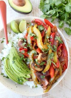 Veggie Fajita Rice Bowl | If you're looking for a healthy alternative to your regular burrito bowl at Chipotle, you just found it.