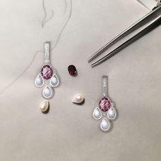 Working drawing for a pair of rhodolite garnet, pearl and diamond earrings