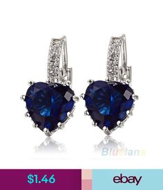 Earrings Gorgeous 18k White Gold Plated Shire Blue Crystal Heart Leverback Ebay Fashion