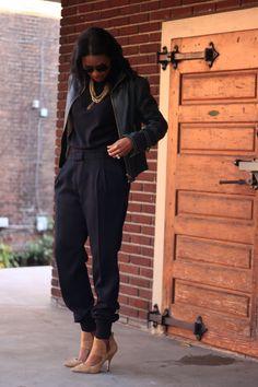 DIY black loose fitting trousers.