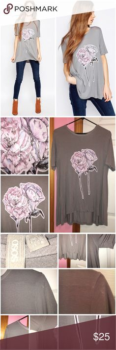 """Flower Print Swing T-Shirt Only worn once; has been washed. Lightweight jersey. Swing fit so is a loose fit. Round neckline. 100% viscose. Laying flat is approx 27"""" in length and bust is approx 38"""". Stock photos from ASOS. ❌❌NO TRADES❌❌ ASOS Tops Tees - Short Sleeve"""