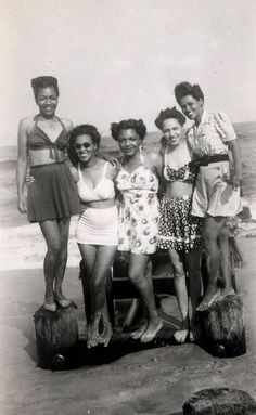 BEAUTY & THE BEACH | 1930s African American women in bathing suits strike a pose.