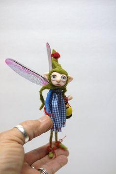 lightbearer ELF pixie FAIRY (80 ) ooak poseable art doll by DinkyDarlings by DinkyDarlings on Etsy