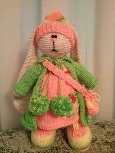 Soft toy bunny.Knitted rabbit by KnittedToysNatalia on Etsy