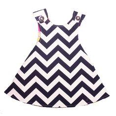 Right Bank Babies    Girls : Reversible Dress - Navy Chevron   $60.00