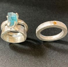 Isabella made these two rings in the Stone Setting in Wax Workshop. The yellow stone on the right was cast in place and the ring on the left was cast and then set with a raw piece of fluorite. Two completely differently styles of setting made in the same workshop.