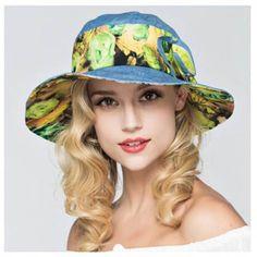 Tulip flower bucket hats UV summer travel package sun hat for women