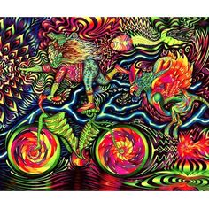 Happy bicycle day!!! (Art by @vedran_misic) The day that changed our consciousness forever.  Thank you Albert Hoffman for opening the minds eyes of many souls.  #bicycleday #alberthoffman #lsd #vedranmisic #psychedelic #hallucinogen #entheogen