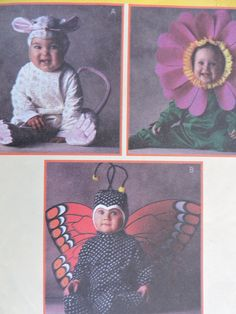Butterfly Sunflower Mouse Toddler Costume Halloween McCall's 9455 © Tom Arma Studio Unisex Sewing Pattern Toddler Sz. 1/2 - 2 Halloween Patterns, Costume Patterns, Sewing Patterns For Kids, Vintage Sewing Patterns, Mouse Costume, Raggedy Ann And Andy, Toddler Halloween Costumes, Cross Stitch Designs, Butterfly