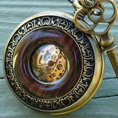 Jules Verne pocket watch key necklace.  #steampunk