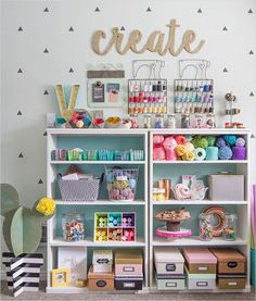 Craft Room Tour Tour this colorful and happy craft room that's bursting with creative storage ideas.Tour this colorful and happy craft room that's bursting with creative storage ideas. Craft Room Design, Craft Room Decor, Craft Room Storage, Room Wall Decor, Craft Organization, Organization Ideas, Art Storage, Paper Storage, Bedroom Storage