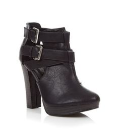 Black Cut Out Buckle Ankle Boots