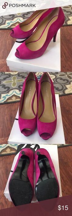 Nine West peep toe suede pumps in hot pink 4 inch suede pumps Nine West Shoes Heels