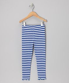 Take a look at this Royal Blue Stripe Leggings - Toddler & Girls by SILLY MILLY on #zulily today!