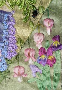 I ❤ crazy quilting & ribbon embroidery . Detail of silk ribbon embroidery ~by Ingrid- Crazy Quilt InternationalLove the silk ribbon seam treatment. Bleeding heart flowers and Iris flowersHave Fun with Silk-Ribbon Embroidery - Embroidery PatternsEmbroide Crazy Quilting, Crazy Quilt Stitches, Crazy Quilt Blocks, Silk Ribbon Embroidery, Embroidery Thread, Embroidery Patterns, Eyebrow Embroidery, Embroidery Tattoo, Embroidery Supplies