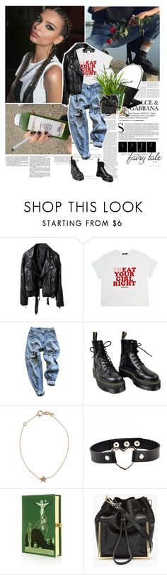 """""""When routine bites hard, And ambitions are low, And resentment rides high, But emotions won't grow, And we're changing our ways, Taking different roads"""" by amnaasif ❤ liked on Polyvore featuring Levi's, Dr. Martens, Kismet, Olympia Le-Tan and 3.1 Phillip Lim"""