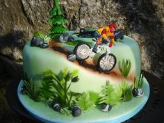Mountainbike Tour Its for my son?s birthday, he loves mountainbiking Birthday Cakes For Men, 3d Birthday Cake, Birthday Cake Ideas For Adults Men, 22 Birthday, Dirt Bike Kuchen, Cupcakes, Cupcake Cakes, Mountain Bike Cake, Dirt Bike Cakes