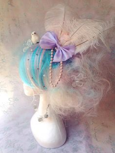 Ombre Pastel Rainbow Marie Antoinette, Cotton Candy Girly Wig With LED butterflies & Kawaii Cute Accessories