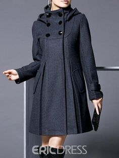 Ericdress Cape Double-Breasted Plain Long Sleeves Coat 13457411 - Ericdress.com Coats For Women, Jackets For Women, Clothes For Women, Short Jackets, Mode Mantel, Latest African Fashion Dresses, Swing Coats, Double Breasted Coat, Types Of Sleeves