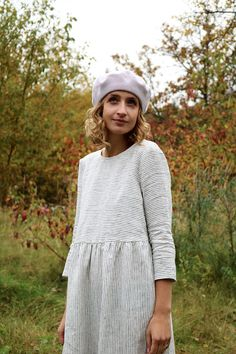 Lin rayé / robe lin bio / robe lin robe / lâche Linen Dress /