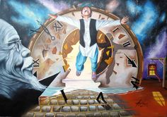 """Escaping Time"" - Oil on canvas. Mihai Adrian Raceanu #art #painter #painting #surrealism"