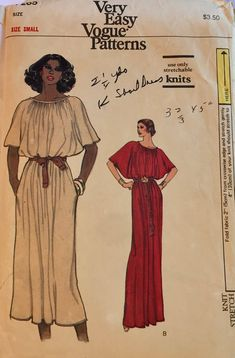 f5254446f708 Misses  70 s Full Length Dress Sewing Pattern Vogue 7265 Misses  Size Small  Bust 31-32 Complete