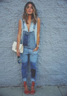 Turn your regular blue denim overalls into a fashionable outfit! Throw on some chic heels and a cute blue sleeveless blouse with your denim overalls. Denim Fashion, Look Fashion, Womens Fashion, Street Fashion, Modern Fashion, Trendy Fashion, Spring Fashion, Latest Fashion, Fashion Outfits