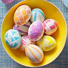 Japanese-style washi tape comes in a huge variety of bright hues and patterns. Cut it into geometric shapes before sticking it to the shells of your Easter eggs: http://www.bhg.com/holidays/easter/eggs/pretty-no-dye-easter-eggs/?socsrc=bhgpin032114washitapeeastereggs