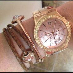 Michael Kors rose gold watch paired with Chamilia rope bracelet/bead #armcandy