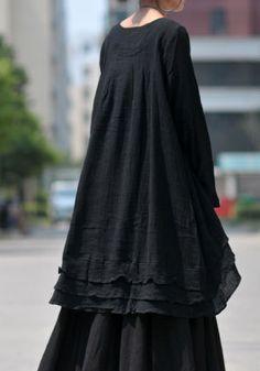 Black linen dress by LitterGirl on Etsy