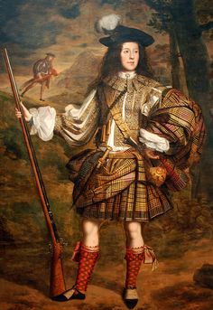 A Highland Chieftain Portrait of Lord Mungo Murray full-length, in highland dress, holding a flintlock sporting gun in his right hand - John Michael Wright Scottish Clothing, Historical Clothing, Scottish Fashion, Historical Art, Renaissance, Highlands Warrior, Glasgow Museum, Scottish Warrior, Tartan