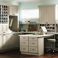 Martha Stewart - dens/libraries/offices - craft room, office, l-shaped cabinet, Martha Stewart Seal Harbor Cabinets, beadboard fronted cabin...