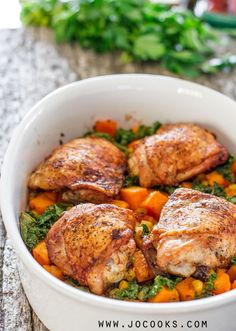 Chicken Thighs with Sweet Potatoes Corn and Kale Bake - a delicious Sunday night dinner, but simple enough to make any night.