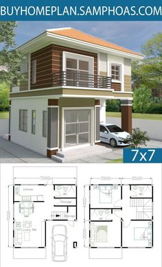 Home Design Plan with 3 Bedrooms - Samphoas.Com (Add wall to wall closets in bedrooms, include window in upstairs main bathroom and add linen closet, make downstairs storage space go all the way over to stairs. Simple House Design, Tiny House Design, Modern House Design, Duplex House Plans, Small House Plans, House Floor Plans, New Home Designs, Home Design Plans, Model House Plan