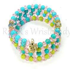Colorful Gold Splatter Coil Beaded Bracelet Memory Wire Wrap Handmade Custom Jewelry 6mm by RandRsWristCandy on Etsy $10