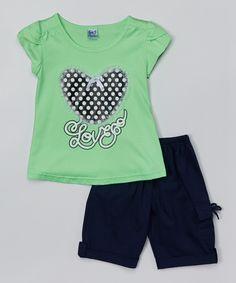 Littoe Potatoes Apple Love Heart Tee & Navy Bermuda Shorts - Toddler & Girls | zulily