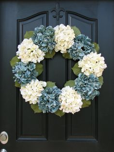 "Summer Wreaths, 25"" Blue Hydrangea Wreath, Spring Decorations, Spring Wreaths, Etsy Wreaths, Spring Hydrangeas, Spring Home Decor"