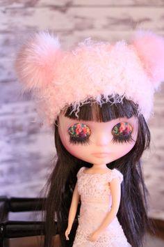 """Blythe Fifth Avenue - MINK Beary Hat in """"PINK BEARY"""" faux fur ears bear hat"""