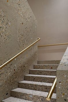 Brass and terrazzo staircase by Casper Mueller Kneer Architects.c… for more – staircase Architecture Details, Interior Architecture, Interior And Exterior, Interior Design, Stairs Architecture, Interior Paint, Terrazzo, Interior Staircase, Staircase Design