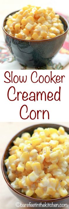 Slow-Cooker Creamed Corn – just like Rudy's BBQ! get the recipe at barefeetinthe… Slow-Cooker Creamed Corn – just like Rudy's BBQ! get the recipe at barefeetinthekitc… Cream Corn Crockpot, Cream Corn Recipe Crock Pot, Slow Cooker Creamed Corn, Creamed Corn Recipes, Slow Cooker Recipes, Crockpot Recipes, Cooking Recipes, Crockpot Dishes, Fun Recipes