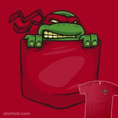 """""""Pocket Ninja"""" by Harebrained.   Carry your favorite Teenage Mutant Ninja Turtle in your pocket. Pick a different shirt color to change the mask color for Leonardo, Raphael, Donatello, or Michelangelo."""
