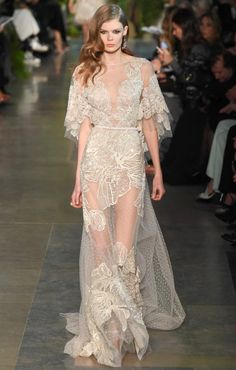 Elie Saab Spring Couture 2015 cream sheer lace dress