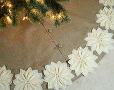 """65"""" falda de árbol de Navidad de arpillera con hilos de oro y marfil Nochebuenas. ENVÍO GRATUITO"""