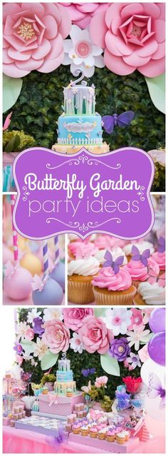 You have to see this gorgeous butterfly garden birthday party! See more party ideas at http://CatchMyParty.com!
