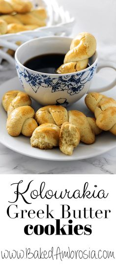 Koulourakia - Greek Butter Cookies - Baked Ambrosia - *mimi g - macedonian food Greek Sweets, Greek Desserts, Greek Recipes, Baking Recipes, Cookie Recipes, Butter Cookies Christmas, Greek Cookies, Cookie Bakery, Macedonian Food
