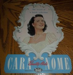 Vintage Cara Nome~BEAUTY AIDS~THE REXALL DRUG STORE~CARDBOARD DISPLAY #CARANOME
