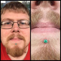 """velvetelvispiercing: """" Labret downsized and healing well at weeks with a nice shiny emerald colored gem from our friends . Come get pierced on this sunny day. Piercers taking walk-ins and appointments at both locations. Lip Piercings, Labret, Appointments, Body Jewelry, 3 Weeks, Sunny Days, Gem, Emerald, Lips"""