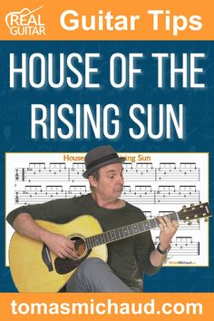 """Learning to play, """"House Of The Rising Sun"""" on guitar is a great way to practice fingerstyle guitar. """"House of the Rising Sun"""" has been done by several artists like The Animals, Bob Dylan, Dolly Parton, Woody Guthrie, and more! As I was playing my guitar, I realized that this song sounds good with a nice fingerpicking pattern. It is a fun way to practice this pattern rather than just treating it as a guitar exercise. #guitarsongs #fingerstyleguitar #playguitar #learnguitar Play Guitar Chords, Learn Acoustic Guitar, Guitar Strumming, Learn To Play Guitar, Acoustic Guitars, Easy Guitar Songs, Guitar Tips, Guitar Lessons For Beginners, Music Lessons"""