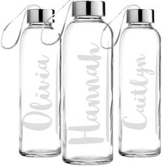 Personalized Etched Glass Water Bottle Custom Glass by JoyandChaos