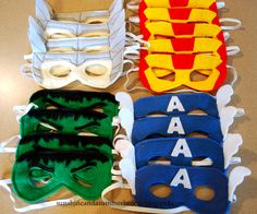 DIY avengers masks i would black out the eyes and figure out some sort of game